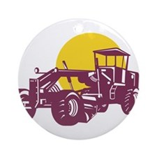 Vintage Road Grader Retro Ornament (Round)