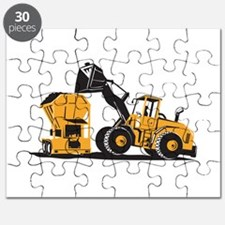 Front End Loader Digger Excavator Retro Puzzle