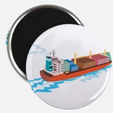Container Ship Cargo Boat Retro Magnet