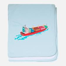 Container Ship Cargo Boat Retro baby blanket