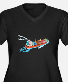 Container Ship Cargo Boat Retro Women's Plus Size
