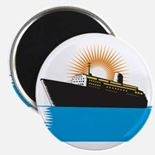 Passenger Ship Cargo Boat Retro Magnet