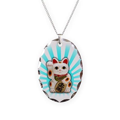 Lucky Cat (Maneki-neko) Necklace Oval Charm