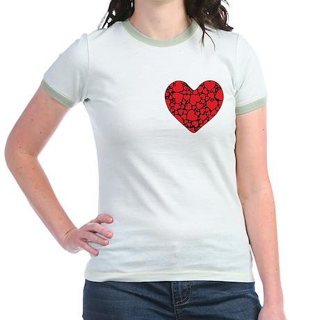 Red Hearts on Black P Jr. Ringer T-Shirt