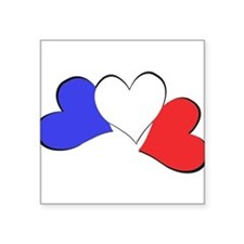 "French Hearts Square Sticker 3"" x 3"""