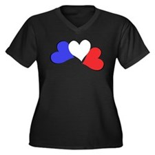 French Hearts Women's Plus Size V-Neck Dark T-Shir