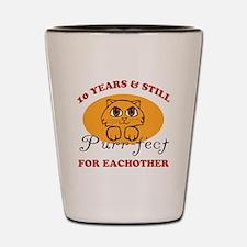 10th Purr-fect Anniversary Shot Glass