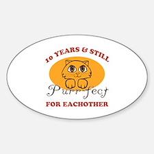 10th Purr-fect Anniversary Sticker (Oval)