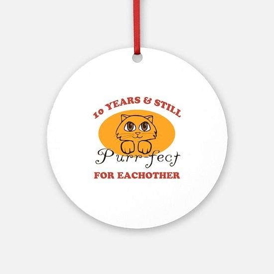 10th Purr-fect Anniversary Ornament (Round)