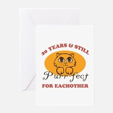 20th Purr-fect Anniversary Greeting Card