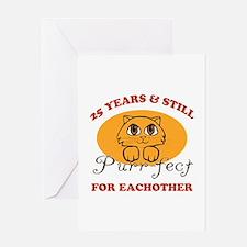 25th Purr-fect Anniversary Greeting Card