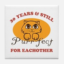 30th Purr-fect Anniversary Tile Coaster