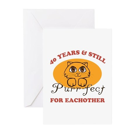 40th Purr-fect Anniversary Greeting Cards (Pk of 2