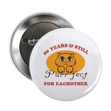 "50th Purr-fect Anniversary 2.25"" Button (10 pack)"