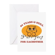 50th Purr-fect Anniversary Greeting Card