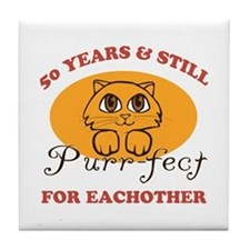50th Purr-fect Anniversary Tile Coaster
