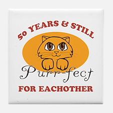 50th Purr-fect Anniversary Tile Coaster