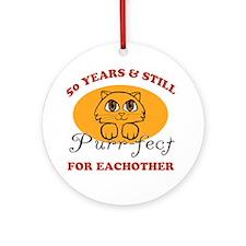 50th Purr-fect Anniversary Ornament (Round)