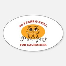 60th Purr-fect Anniversary Sticker (Oval)
