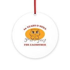 60th Purr-fect Anniversary Ornament (Round)