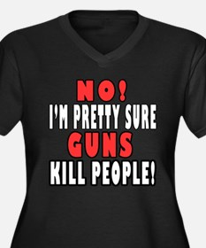 Guns Kill Women's Plus Size V-Neck Dark T-Shirt