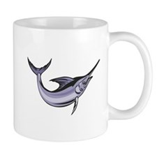 Blue Marlin Fish Jumping Retro Mug