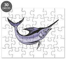 Blue Marlin Fish Jumping Retro Puzzle