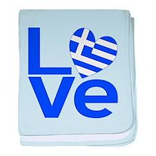 Blue Greek LOVE baby blanket