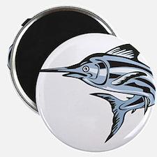 Blue Marlin Fish Jumping Retro Magnet