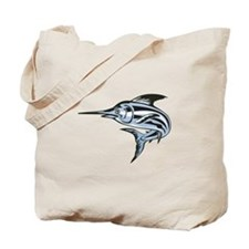 Blue Marlin Fish Jumping Retro Tote Bag