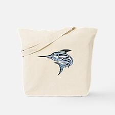 Blue Marlin Fish Jumping Retro Tote Bag
