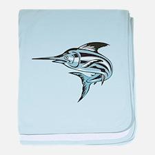 Blue Marlin Fish Jumping Retro baby blanket