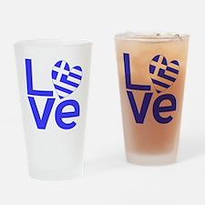 Blue Greek LOVE Drinking Glass