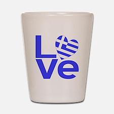 Blue Greek LOVE Shot Glass