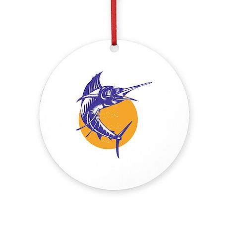 Sailfish Fish Jumping Retro Ornament (Round)