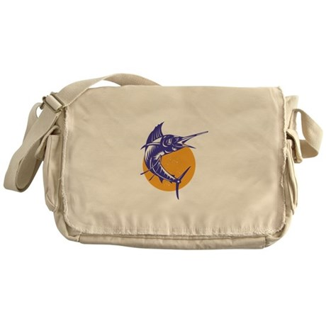 Sailfish Fish Jumping Retro Messenger Bag
