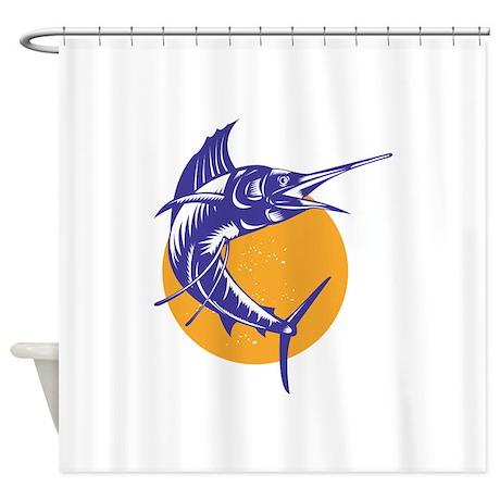 Sailfish Fish Jumping Retro Shower Curtain