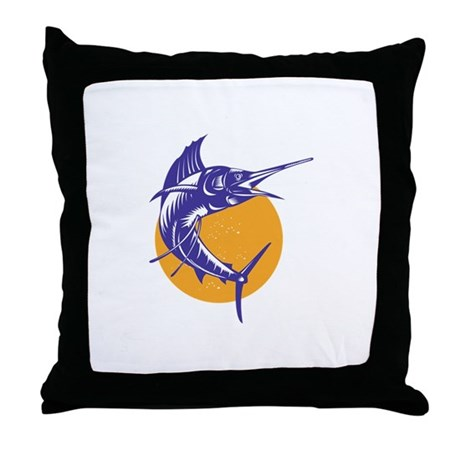 Sailfish Fish Jumping Retro Throw Pillow