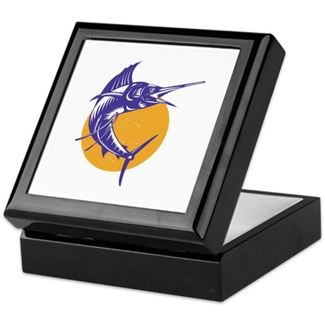 Sailfish Fish Jumping Retro Keepsake Box