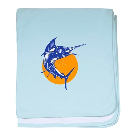 Sailfish Fish Jumping Retro baby blanket