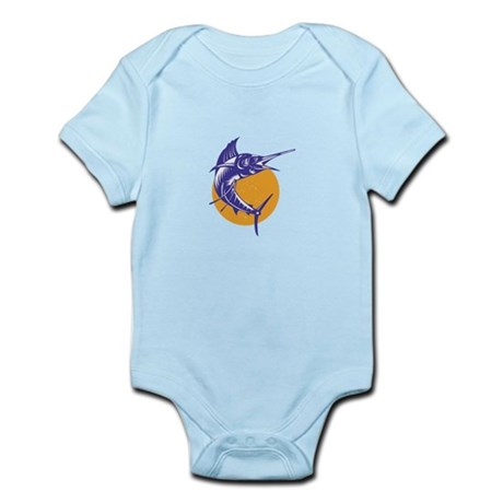 Sailfish Fish Jumping Retro Infant Bodysuit