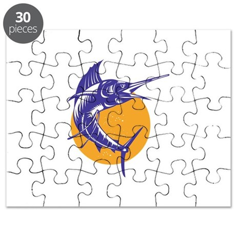 Sailfish Fish Jumping Retro Puzzle