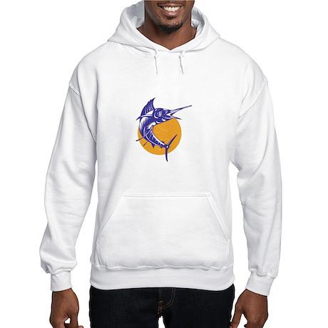 Sailfish Fish Jumping Retro Hooded Sweatshirt