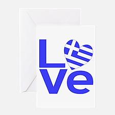Blue Greek LOVE Greeting Card