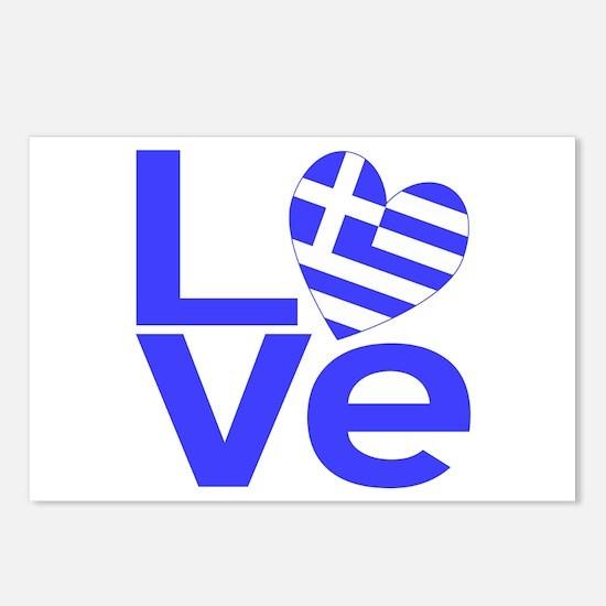 Blue Greek LOVE Postcards (Package of 8)