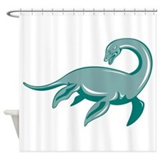 Loch Ness Monster Retro Shower Curtain