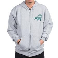 Loch Ness Monster Retro Zip Hoodie