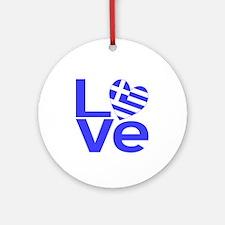 Blue Greek LOVE Ornament (Round)