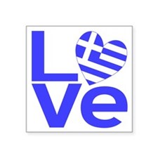 "Blue Greek LOVE Square Sticker 3"" x 3"""