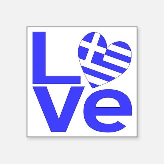 "Blue Greek LOVE Square Sticker 3"" x 3"""